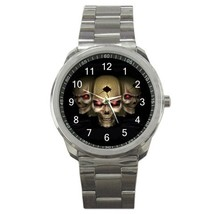Three Skull Skeleton Goth Sport Metal Watch Gift model 26487378 - $15.99