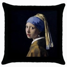 Throw Pillow Case Cushion Cover J. Vermeer Girl With A Pearl Earring 333... - $16.99