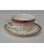 MANDARIN MAROON Sebring Pottery FLAT CUP & SAUCER (s) K-S 384 22K Trim - $6.78