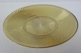 "AMBER Depression Glass 11 1/2"" Cake Sandwich Plate DIANA Gold Swirls Fed... - $29.09"