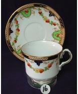 Antique COLLINGWOOD China Tea Cup & Saucer COBALT GREEN FLORAL - $15.51