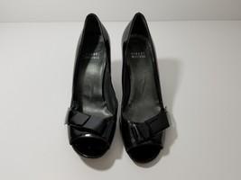 Stuart Weitzman Bow Over Black Patent Leather Peep Toe Pump Size 7 - $29.02