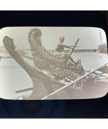 Vtg Magic Lantern Glass Slide Mandalay India River Boat Wood Carving - $14.20