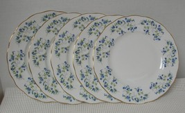 """Lot of 5 SONATA Queen Anne 8 1/4"""" SALAD PLATES China England Forget-Me-Nots - $38.79"""