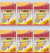 BIC Round Stic Ball Pen, Medium Point (1.0 mm), RED, 60 PENS  - $18.67