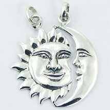 Silver pendant hand crafted 925 sterling sun & moon shinny size 30mm height - €18,80 EUR
