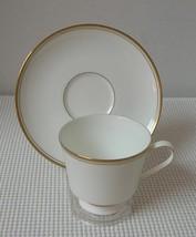 Mikasa Wheaton Footed Cup & Saucer Bone China Narumi Japan 102 Gold Trim - $9.45