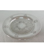 "Vintage 9 1/2"" Silverplate ROUND SERVING PLATTER TRAY Engraved Pierced C... - $12.12"