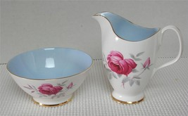 Royal Albert CHARMAINE Creamer & Open Sugar Bowl Red Rose Blue Interior ... - $29.09