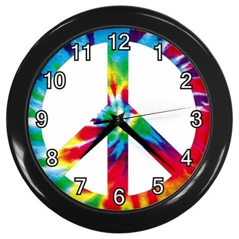 Tie Dye Peace Sign Decorative Wall Clock (Black) Gift model 32046809