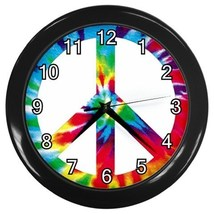Tie Dye Peace Sign Decorative Wall Clock (Black) Gift model 32046809 - $18.99