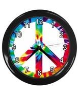 Tie Dye Peace Sign Decorative Wall Clock (Black) Gift model 32046809 - $18.99