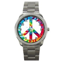 Tie Dye Peace Sign Sport Metal Watch Gift model 32049397 - $15.99