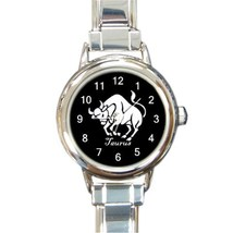 Ladies Round Italian Charm Bracelet Watch Taurus Zodiac Sign Gift model ... - $11.99