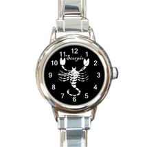 Ladies Round Italian Charm Bracelet Watch Scorpio Zodiac Sign Gift 34876772 - $11.99