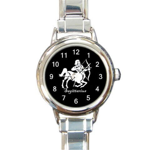 Primary image for Ladies Round Italian Charm Bracelet Watch Sagittarius Zodiac Sign Gift 34876769