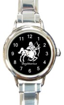 Ladies Round Italian Charm Bracelet Watch Sagittarius Zodiac Sign Gift 3... - $11.99