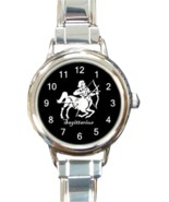 Ladies Round Italian Charm Bracelet Watch Sagittarius Zodiac Sign Gift 3... - ₹825.70 INR