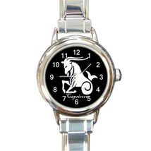 Ladies Round Italian Charm Bracelet Watch Capricorn Zodiac Sign Gift 348... - $11.99