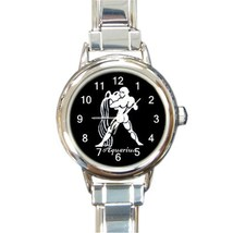 Ladies Round Italian Charm Bracelet Watch Aquarius Zodiac Sign Gift 3487... - $11.99