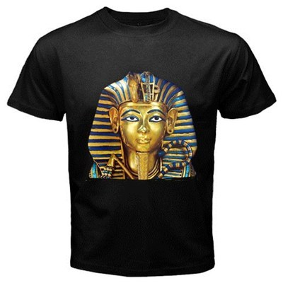 King Tut Mask Egyptian Pharaoh Men's Women's Unique Custom Printed Black T-Shirt