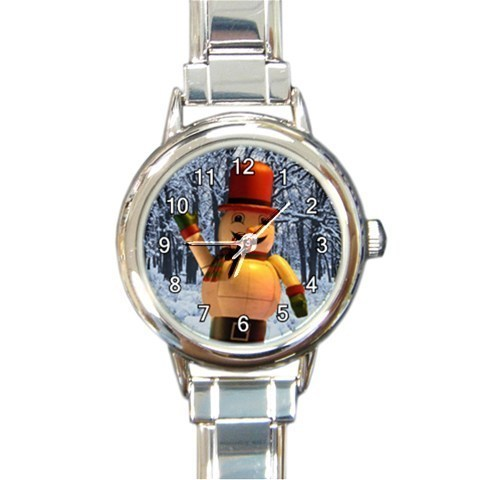 Ladies Round Italian Charm Watch Winter Trees Wooden Man Gift model 30332410