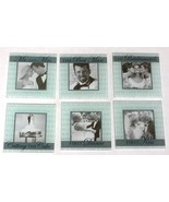 Set of 6 New WEDDING THEME GLASS PHOTO COASTERS in WOODEN HOLDER - GIFT ... - $5.81