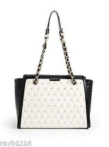 NWT Guess Black & White Faux Leather Gold Metal... - $89.09