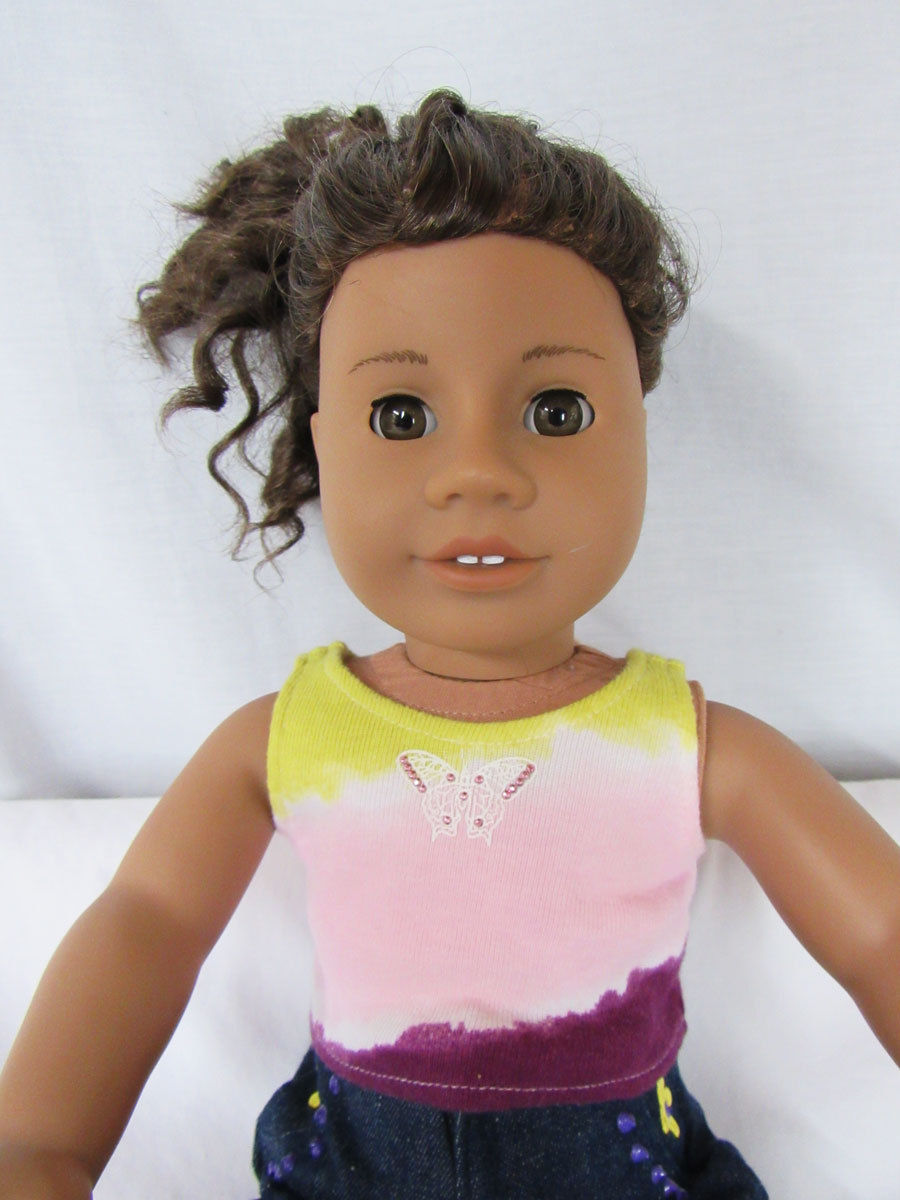 American Girl Doll Addy Brown Eyes + Curly Hair  + Clothes