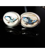 Trophy Fish Cufflinks Vintage enamel Bass Trout Anniversary Fathers Day ... - $95.00