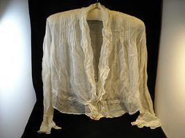 Handmade Vintage Blouse women's sheer fabric w ruffles Fleur De Lys