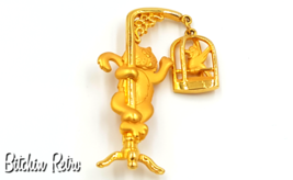 JJ Cat and Articulating Birdcage Brooch, Vintage - $12.00