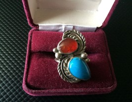Sterling Silver Turquoise Ladies Ring Size 6.5 Signed - $74.60