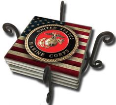 MARINE CORPS EGA LOGO SANDSTONE USA FLAG 4 PIECE METAL COASTER SET MADE ... - $45.12