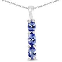Tanzanite Genuine Oval Shape Triple Drop Sterling Silver .75 Carat Pendant - $43.95