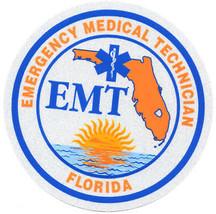 "Florida Emergency Medical Technician Highly Reflective 3 1/4"" Circle Vinyl Decal - $6.92"