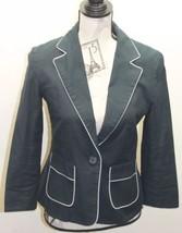 Club Monaco Of Ralph Lauren Group Women Black Blazer White Piping 4 Cotton - $26.84