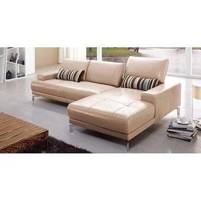 BH Urban Taupe Sectional Sofa Top Grain Leather Right Facing Contemporary Style