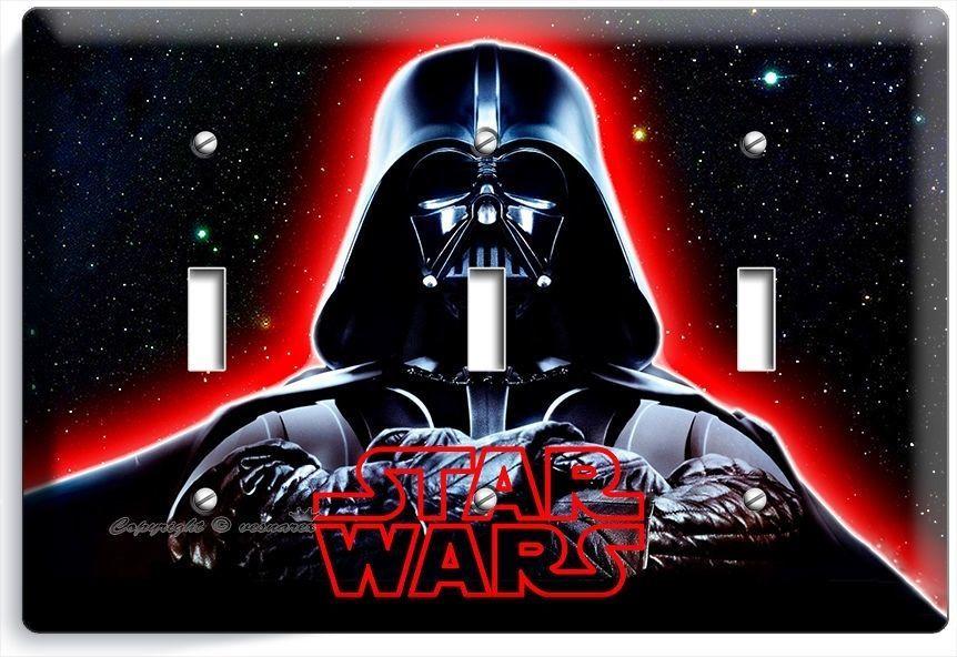 DARTH VADER RED GLOW HALMET STAR WARS DARK FORCE TRIPLE LIGHT SWITCH COVER DECOR - $16.19