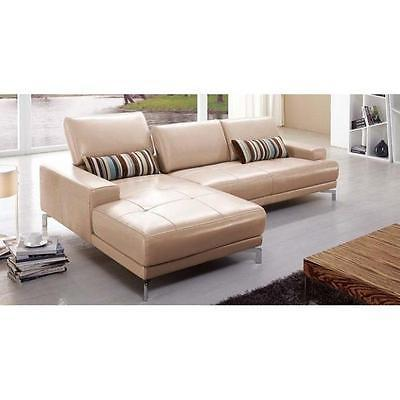 BH Urban Taupe Sectional Sofa Top Grain Leather Left Facing Contemporary Style