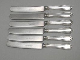 6 FRENCH HOLLOW DINNER KNIVES w BOLSTER - MCG9 McGlashan Clarke Silverplate - $31.52