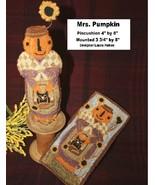 Mrs. Pumpkin halloween fall PUNCHNEEDLE chart Fiddlestix Designs  - $10.80