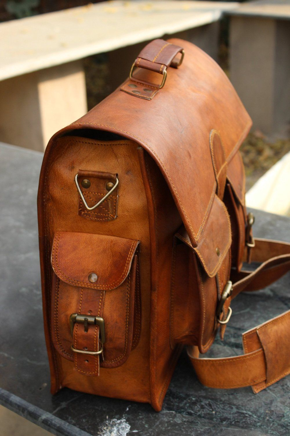 Men's Real Goat Leather Vintage Brown Messenger Shoulder Laptop Bag Briefcase
