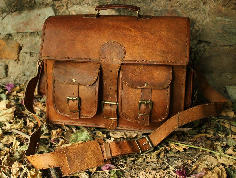 Men's Real Goat Leather Vintage Brown Messenger Shoulder Laptop Bag Briefcase