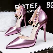 pp125 Elegant stiletto ankle pump w metallic strappy,size 34-39, pink - $48.80