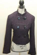 Kensie Women Military Double Breasted Tweed Violet Blazer Black Piping M... - $34.57