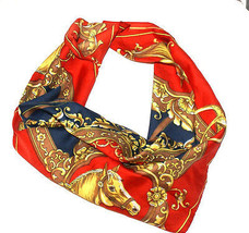 Unique Vintage squared scarf, shawl, printed in Horses, Red Navy Gold  - $206,64 MXN