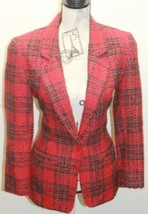 Vintage Diane Von Furtensburg Women Tweed Plaid Red Blazer Petite 4 USA - $53.96