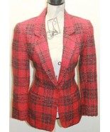 Vintage Diane Von Furtensburg Women Tweed Plaid Red Blazer Petite 4 USA - $53.96