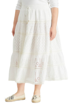 NWT RALPH LAUREN WHITE COTTON EYELET LONG SKIRT SIZE 1 X WOMEN $155 - $75.06
